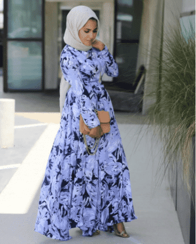 floral-dress-with-hijab-for-work-402x500 Hijab with Floral Outfits-20 Ways to Wear Hijab with Florals