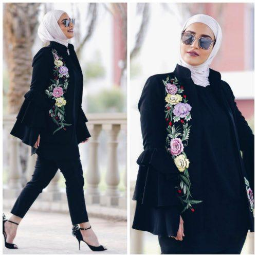 floral-jacket-with-hijab-500x500 Hijab with Floral Outfits-20 Ways to Wear Hijab with Florals