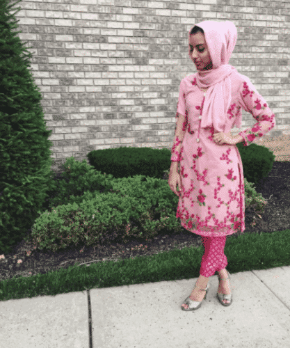 floral-kameez-with-hijab-417x500 Hijab with Floral Outfits-20 Ways to Wear Hijab with Florals