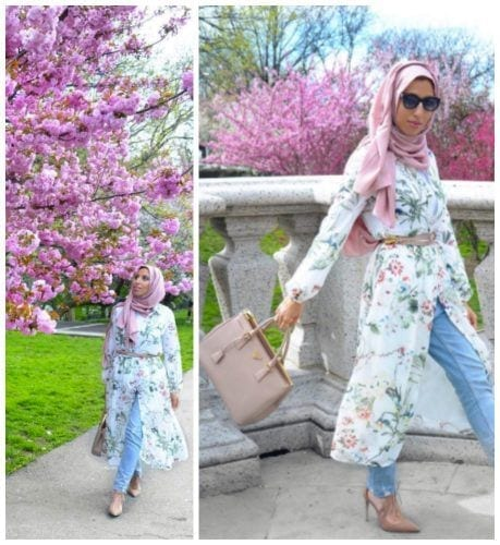 floral-kimono-with-hijab-for-spring-outfit-459x500 Hijab with Floral Outfits-20 Ways to Wear Hijab with Florals