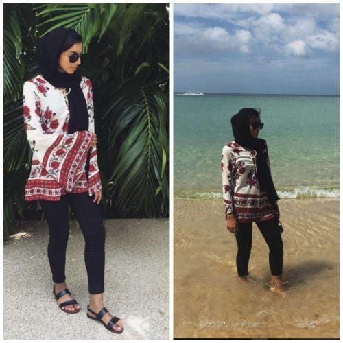 hijab-with-floral-top-for-the-beach-500x500 Hijab with Floral Outfits-20 Ways to Wear Hijab with Florals