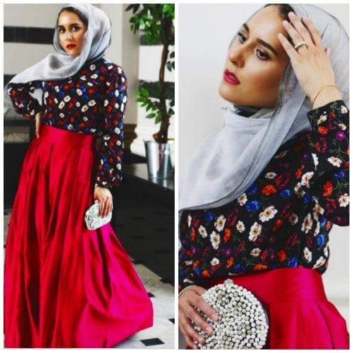 skirt-with-floral-top-and-hijab-500x500 Hijab with Floral Outfits-20 Ways to Wear Hijab with Florals