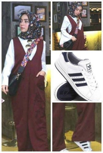 sporty-jumpsuit-with-printed-hijab-336x500 Hijab with Jumpsuits - 16 Ways to Wear Jumpsuit with Hijab