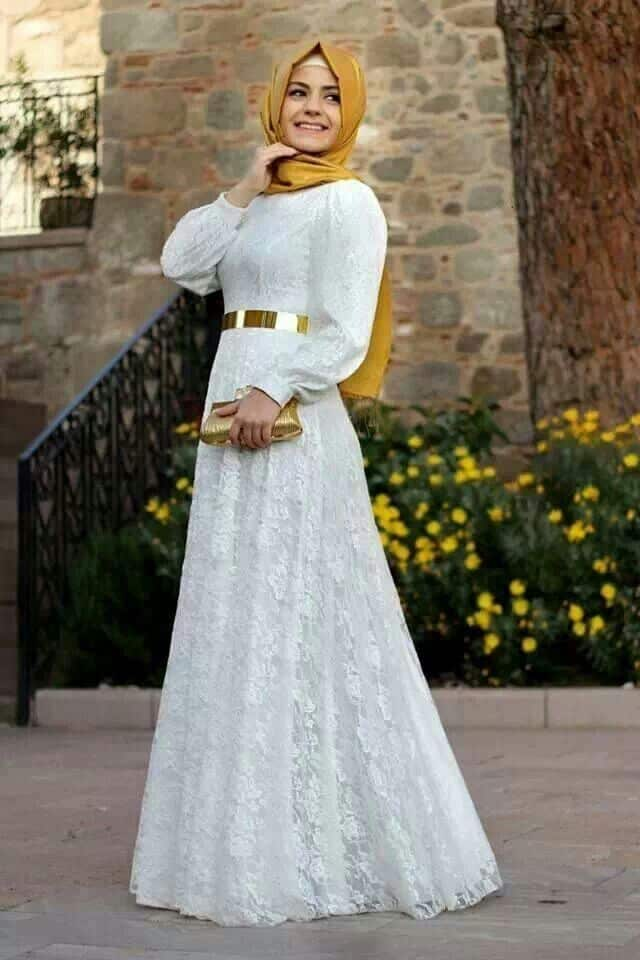 all-white-net-gown How to Wear Hijab with Gowns ? 20 Modest Ways to Try