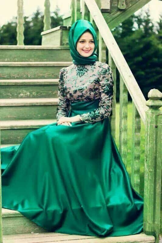 hijab-with-silk-gown How to Wear Hijab with Gowns ? 20 Modest Ways to Try