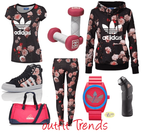 Addidas-Floral-Outfits-for-women Winter Workout Outfits-15 Cute Winter Gym Outfits for Women
