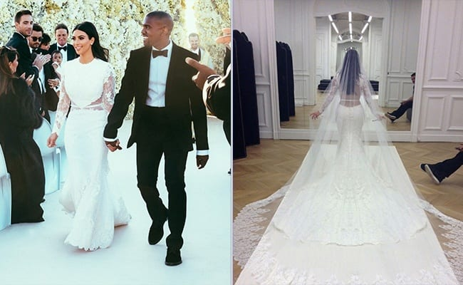 kim1 10 Celebrities Who Wore World Most Expensive Wedding Dresses