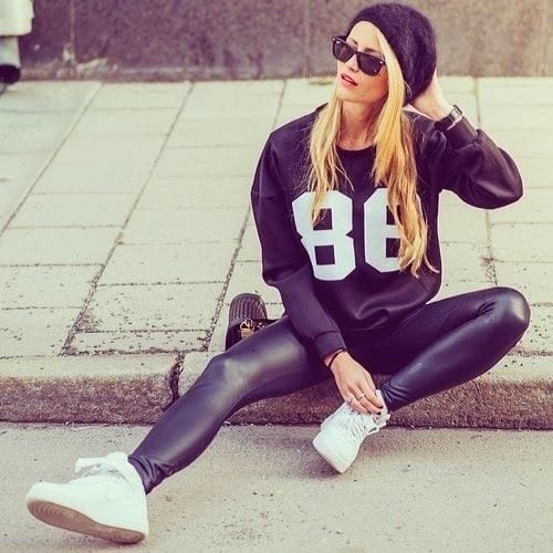 All-Black-Outfit.-Sporty-Outfit.-Leather-Leggings.-Sneakers Women Sporty Style-30 Ways to Get a Fashionable Sporty Look