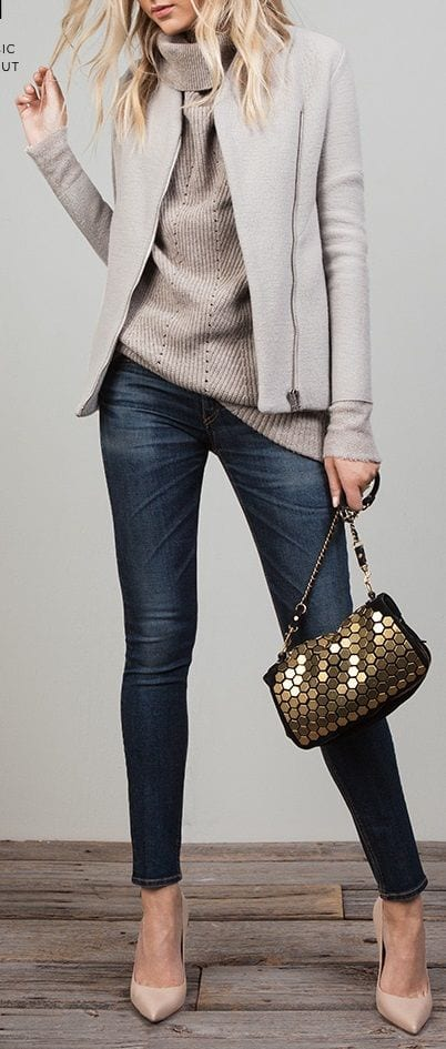 How-to-wear-high-neck-sweater 18 Cute Outfits to Wear With Knitwear for Girls this Winter
