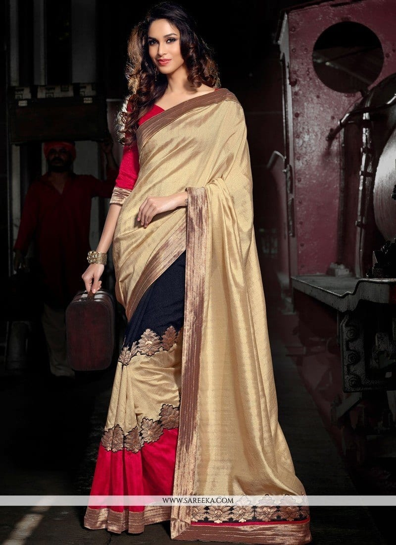 cream-and-black-art-silk-designer-saree-800x1100 12 Modest Saree Style Designs for Muslim Women for Chic Look