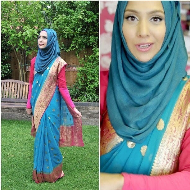 ede56d9acbe232cf12612630845d3fff 15 Modest and Chic Saree Styles for Muslim Women