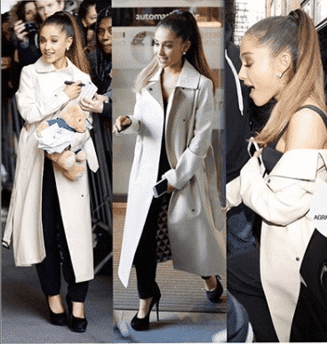 pretty-lady-in-a-coat 32 Cutest Ariana Grande's Outfits That Every Girl will Love