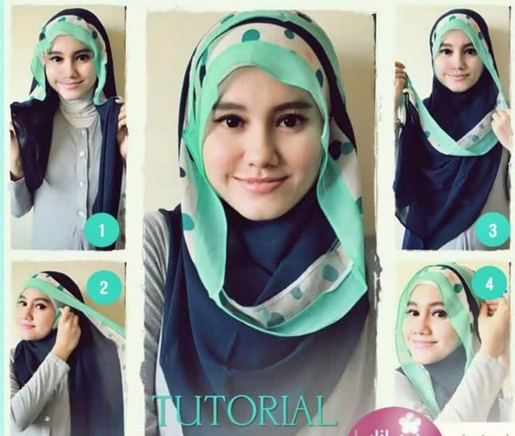 simple-hijab-tutorial-for-round-face 17 Cute Hijab Styles for Round Face With Simple Tutorials