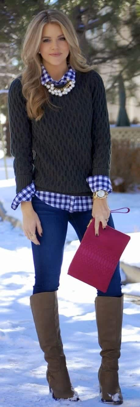 teenage-girls-sweater-wearing-ideas 18 Cute Outfits to Wear With Knitwear for Girls this Winter
