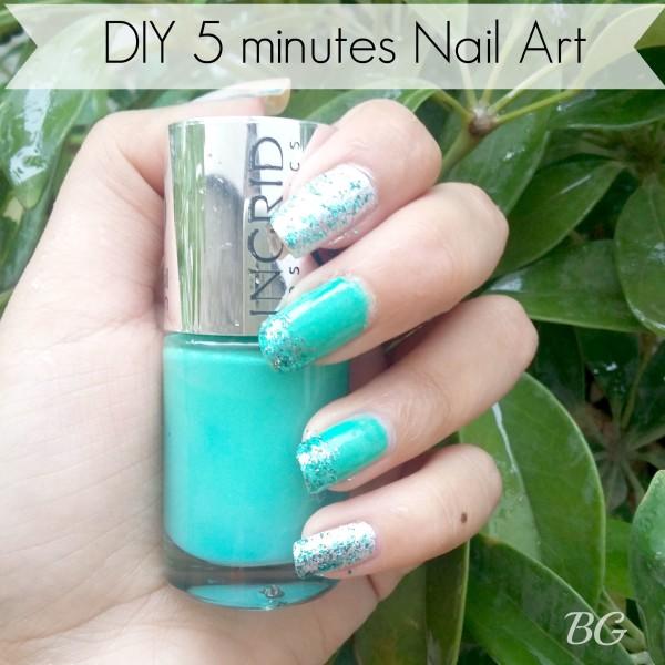 Nail Art Tutorial-5 Minutes Easy DIY Nail Art Green Sparkles