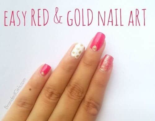 Gold-polka-dot-4-500x391 Bling Nail Desings-How do add a Gold Bling to your Nail Art
