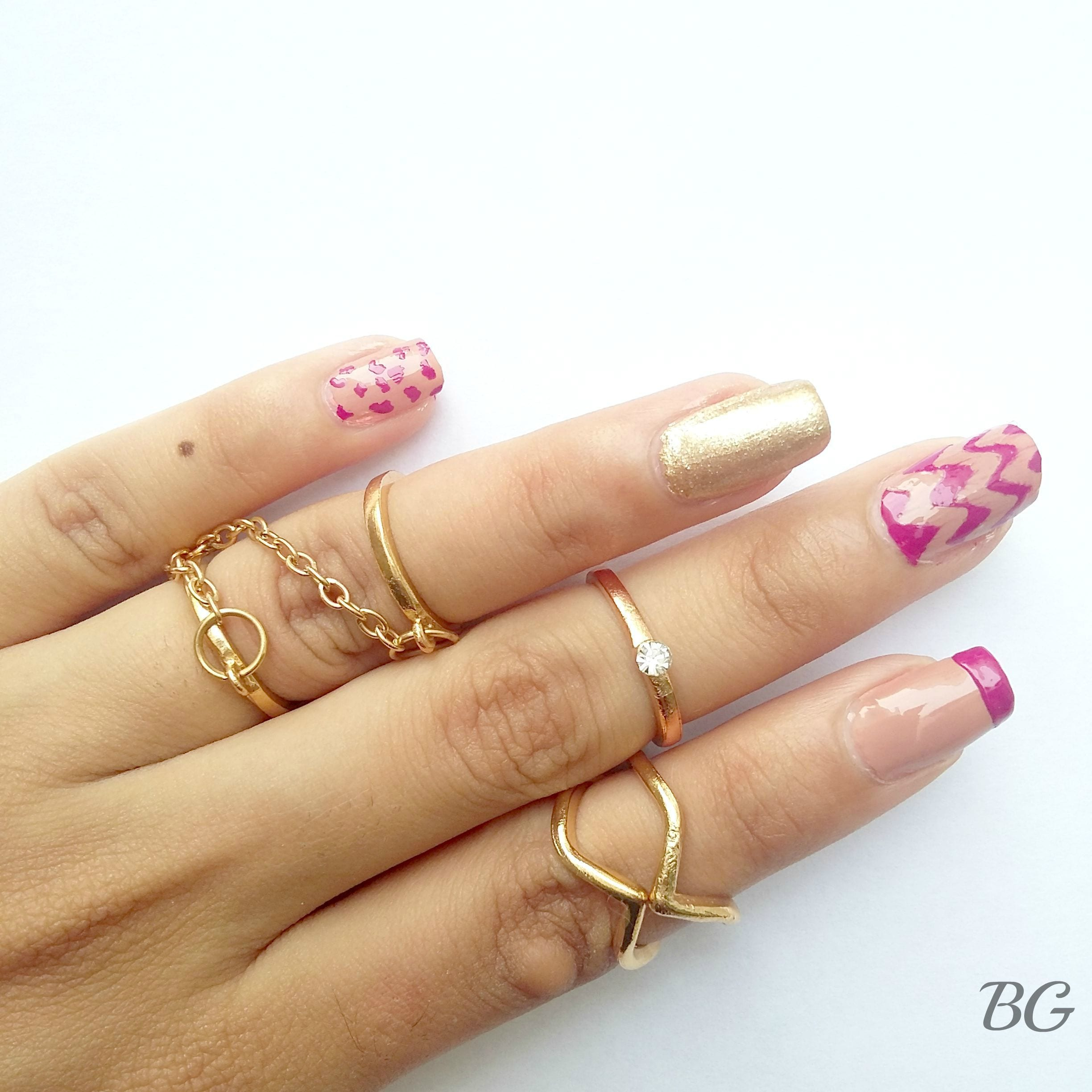 Nail-Art-Tutorial-Gold-Chevron-4 DIY Gold Chevron Nail Design-Step By Step Nail Art Tutorial