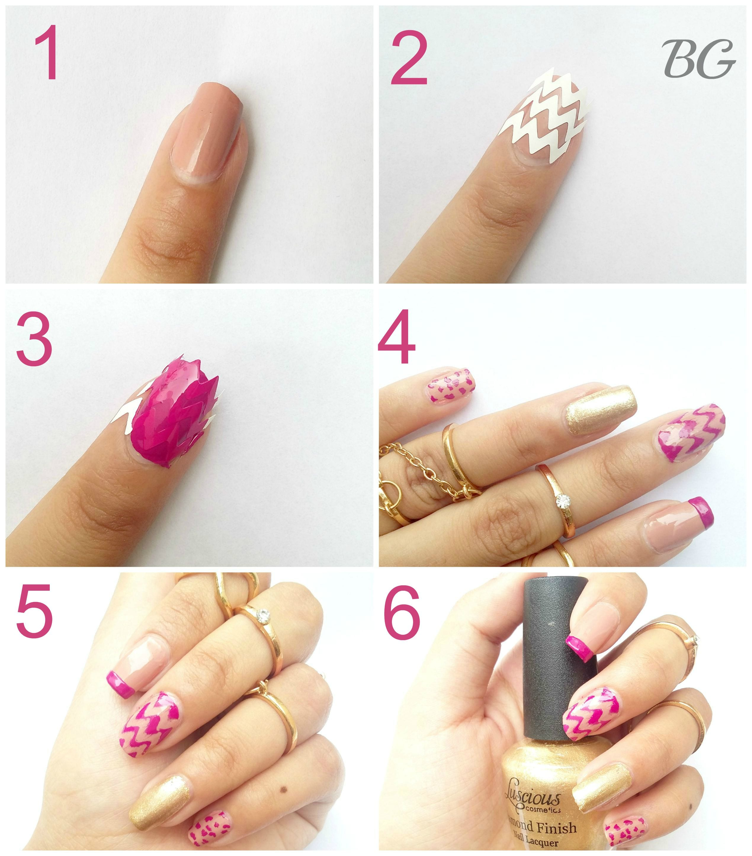 Nail-Art-Tutorial-Gold-Chevron-A1 DIY Gold Chevron Nail Design-Step By Step Nail Art Tutorial