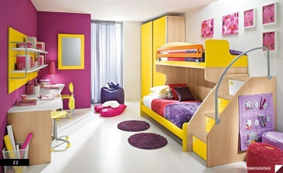Purple-and-Yellow-Teen-Bedroom-582x356 Kids Room Decoration Ideas- 12 DIY Ideas Your Kids will Love