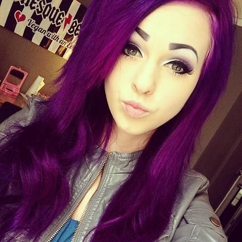 cute-emo-look-with-purple-dyed-hairs Purple Hairstyles- These 50 Cute Purple Shade Hairstyles You Cant Resist Trying
