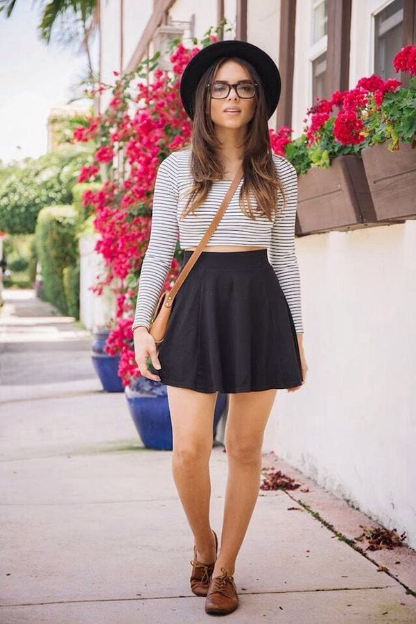 f17659074cedff4b8793438fc3960ed7 Skater Skirts Outfits -20 Ways to Style Skater Skirts for Chic Look