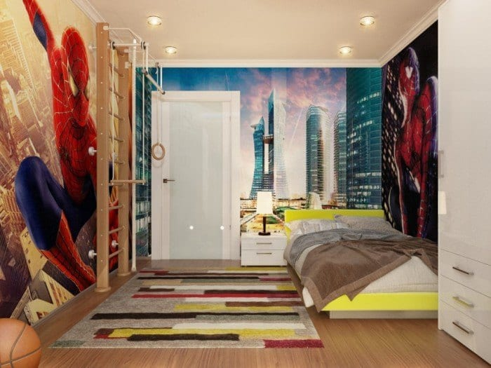 spiderman-down-lit-boys-room-700x525 Kids Room Decoration Ideas- 12 DIY Ideas Your Kids will Love