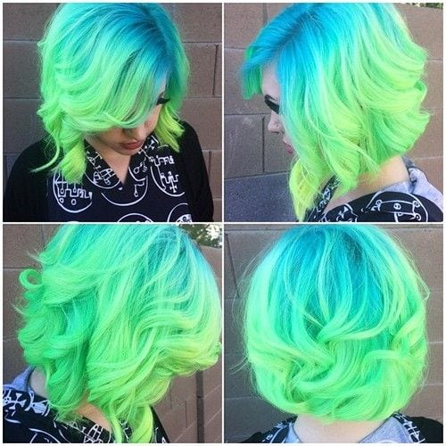 Blue-and-Green-Ombre Latest Green Hairstyles-These 23 Shades of Green Hairs you Cant Resist