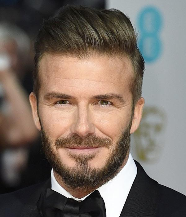 David-Beckham-Beard-BAFTA-2015 David Beckham Hairstyles-20 Most Famous Hairstyles of All the Time