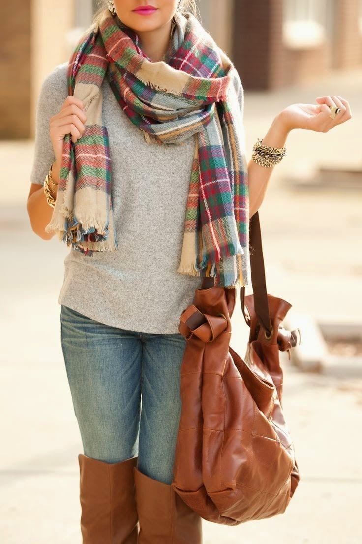 Loop-Plaid-Scarf 5 Trendy Scarves Wrapping Styles to Compliment Your Outfit