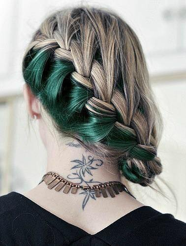 braided-hairs-in-green-shade Latest Green Hairstyles-These 23 Shades of Green Hairs you Cant Resist