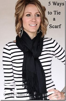 fold scarf in half and wrap around neck