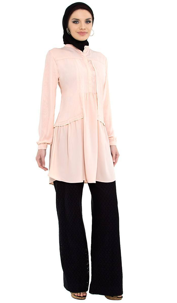 aisha-pink-long-islamic-tunic-3_1 Hijab with Palazzo Pants-20 Ways to Wear Palazzo Pants Modestly