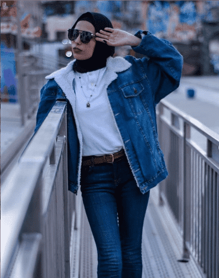 denim-jacket-and-pants Casual Hijab Outfits–33 Ways to Wear Hijab Casually