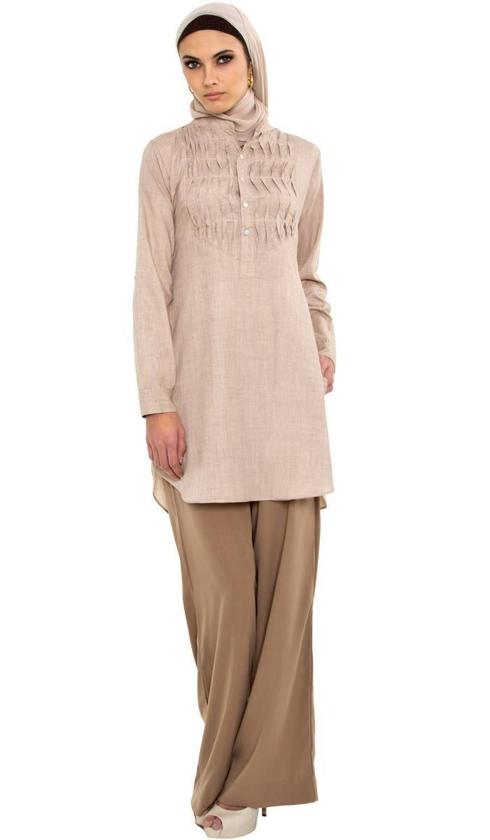 elka-beige-long-islamic-tunic-4_1 Hijab with Palazzo Pants-20 Ways to Wear Palazzo Pants Modestly