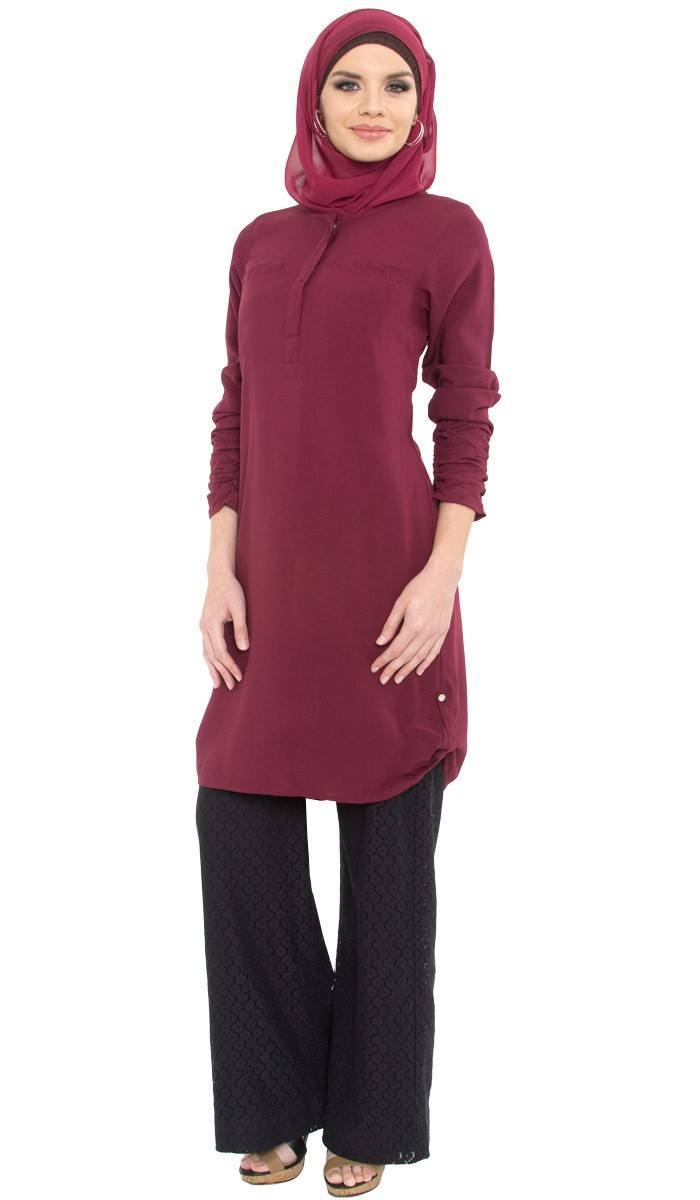 falisha-maroon-long-islamic-tunic-1_1_1 Hijab with Palazzo Pants-20 Ways to Wear Palazzo Pants Modestly