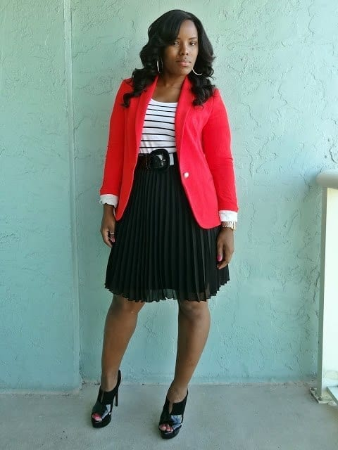 Zara-knit-blazer-Jessica-simpson-pumps-how-to-wear-a-skirt-with-a-blazer-Outfits-for-curvy-women 15 Ideal Plus Size Outfits Ideas with Skirts for Curvy Ladies