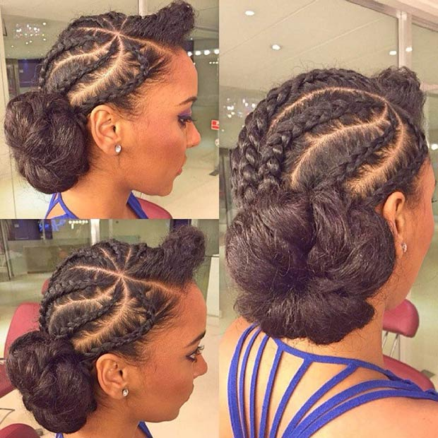 cornrows-updo-nenonatural Cornrow Hair Styles for Girls-20 Best Ways to Style Cornrows