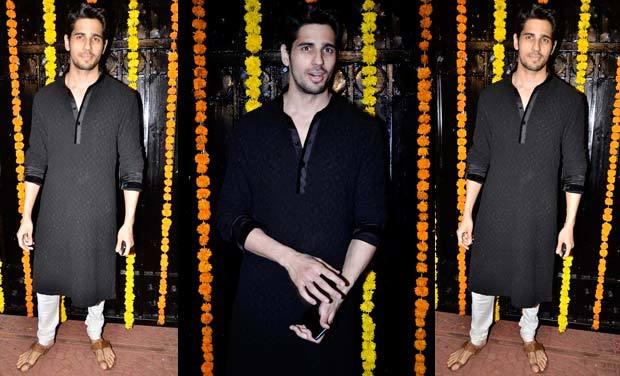 1-His-Desi-Black-Kurta-Outfit Sidharth Malhotra Outfits-30 Best Dressing styles of Sidharth Malhotra to Copy