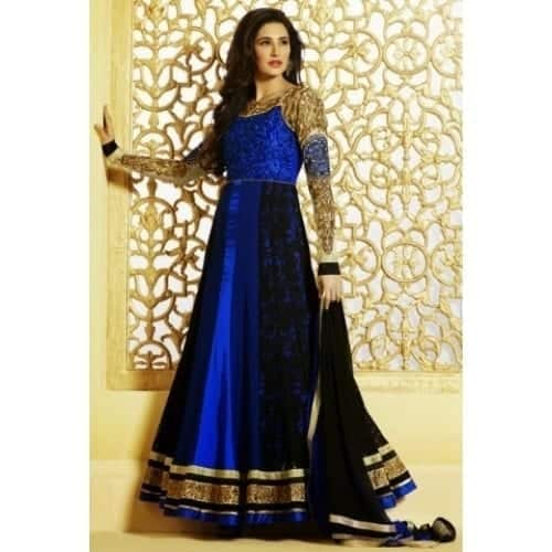 1-Nargis-Fakhri-in-a-Gorgeous-Navy-Blue-Designer-Dress Nargis Fakhri Outfits-32 Best Looks of Nargis Fakhri to Copy