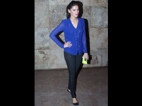 18-Nargis-Fakhri-in-a-Sheer-Blue-Shirt Nargis Fakhri Outfits-32 Best Looks of Nargis Fakhri to Copy