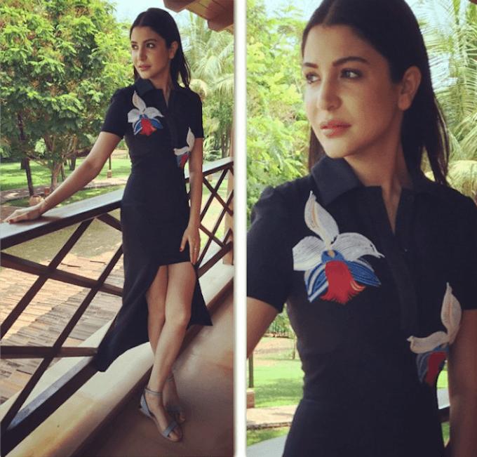 2-Anushka-Sharma-in-a-Glamorous-Fendi-floral-motif-dress Anushka Sharma Outfits-32 Best Dressing Styles of Anushka Sharma