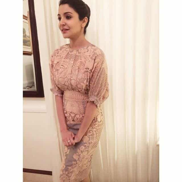 22-Anushka-Sharma-in-a-Timeless-Nude-Embroidered-Dress Anushka Sharma Outfits-32 Best Dressing Styles of Anushka Sharma