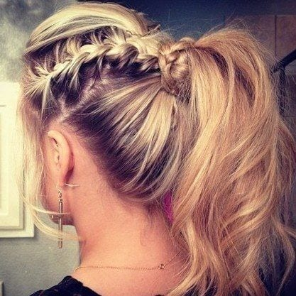 22-Braid-and-Ponytail-Hairdo-for-Round-Faces Hairstyles For Round Face-36 Cute Hairstyles for This Year