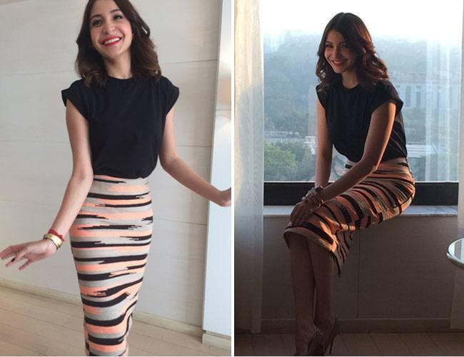 27-Anushka-Sharma-in-a-Stylish-Party-Pencil-Skirt Anushka Sharma Outfits-32 Best Dressing Styles of Anushka Sharma