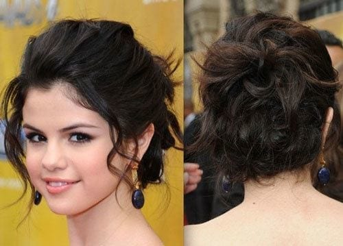 29-Selenas-Awesome-Back-Mess-Updo Hairstyles For Round Face-36 Cute Hairstyles for This Year