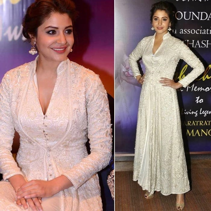 32-Anushka-Sharmas-Glorious-Silk-White-Gown Anushka Sharma Outfits-32 Best Dressing Styles of Anushka Sharma