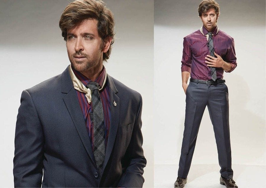6-A-Dreamy-Suite-With-Lined-Shirt Hrithik Roshan Outfits-30 Best Dressing Styles of Hrithik Roshan