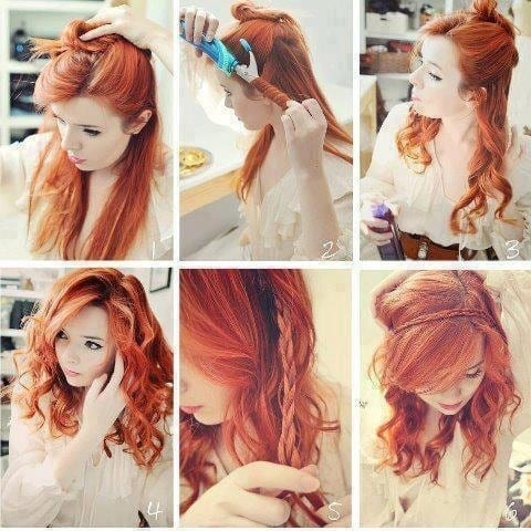 6-Red-Hairdo-With-Rollers Hairstyles For Round Face-36 Cute Hairstyles for This Year