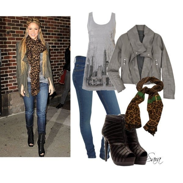 12-A-Cool-Casual-with-Cheetah-Scarf Shakira Outfits - 25 Best Dressing Styles of Shakira to Copy