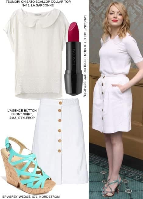13-A-Chic-White-Outfit Emma Stone Outfits-25 Best Dressing Styles of Emma Stone to Copy